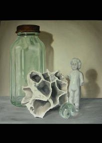 "Barnacle Baby, 2010,10""x10"" oil on canvas--$150"