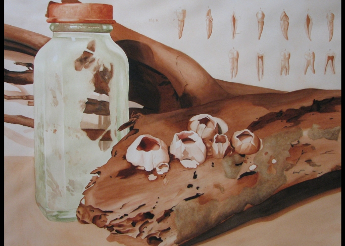 "Beach Relics, 2006, 22""x30"" watercolor--$250"